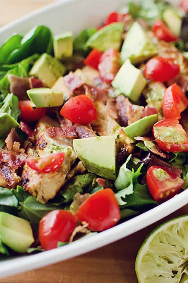 Chicken BLT Salad with Citrus Tomatillo Dressing in bowl