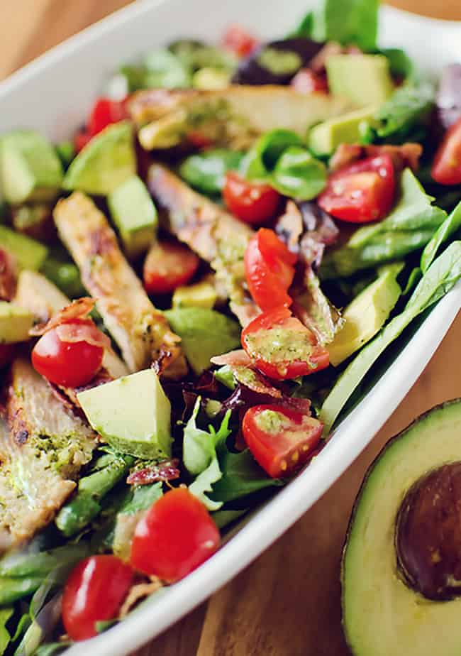 Chicken BLT Salad with Citrus Tomatillo Dressing with avocado