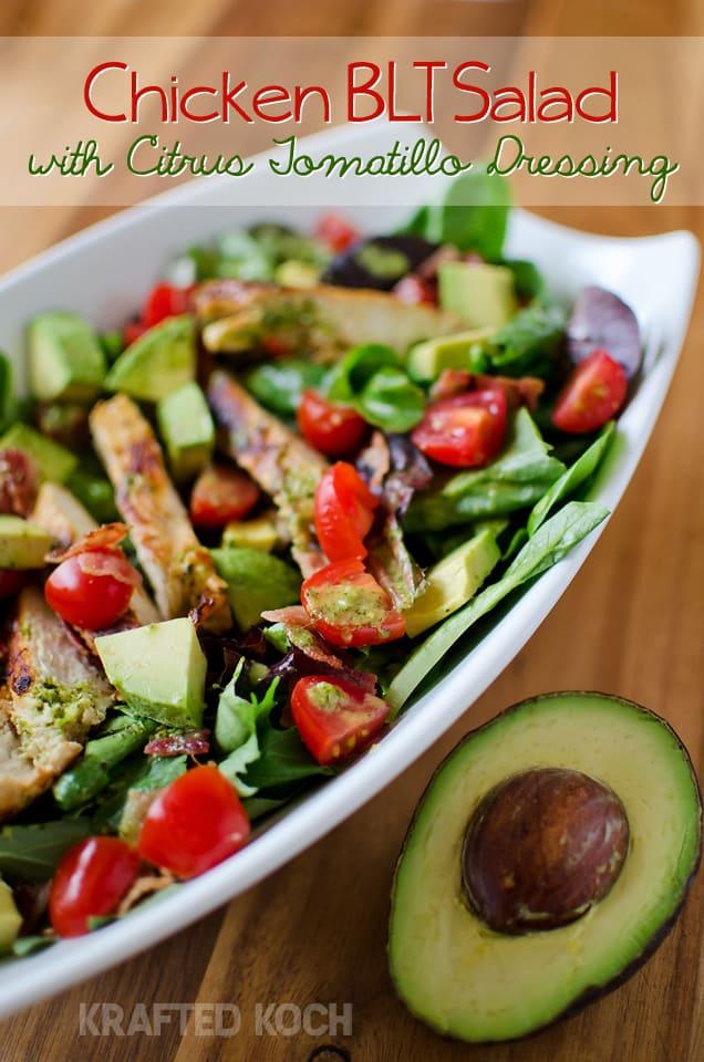 Chicken BLT Salad with Citrus Tomatillo Dressing