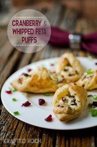 Cranberry & whipped feta puffs appetizer