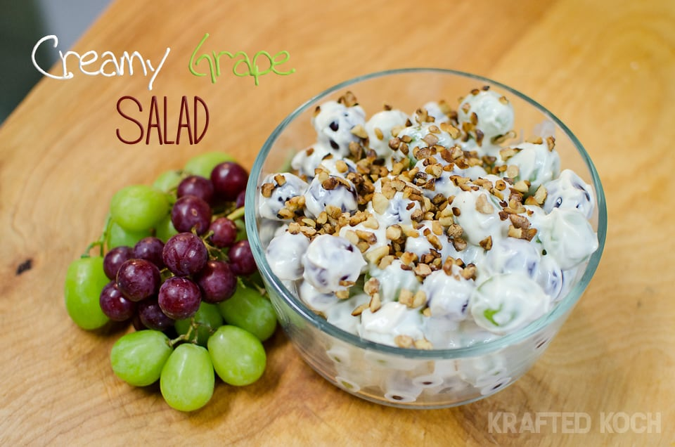 This creamy grape salad is a wonderful pairing of juicy grapes, a ...