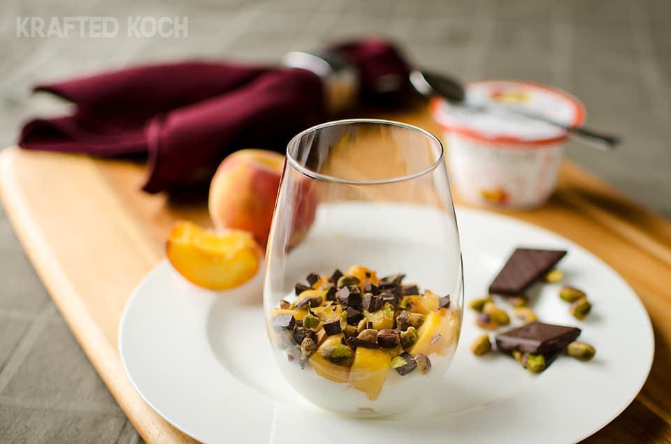 Peach Yogurt Parfait with pistachios and dark chocolate 4 copy