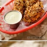 Cheddar Dijon Baked Pretzel Chicken Tenders with a Honey Dijon Greek Yogurt dipping sauce