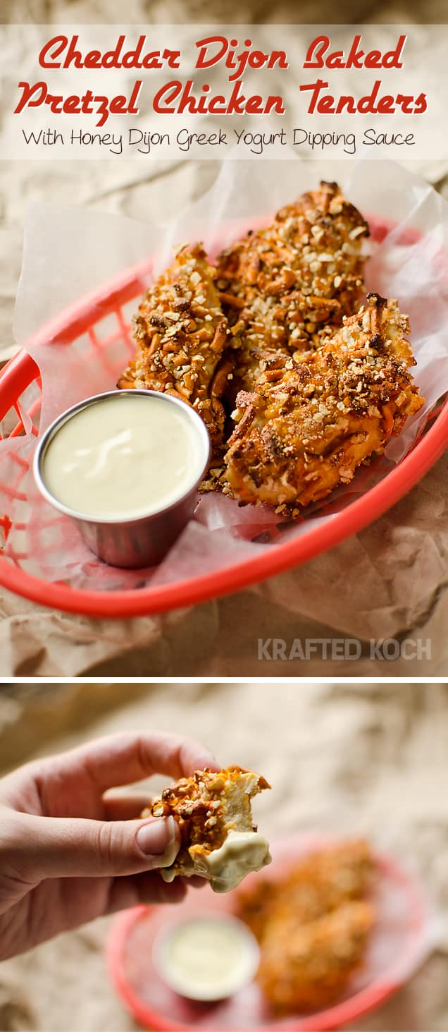 Cheddar Dijon Baked Pretzel Chicken Tenders with a Honey Dijon Greek Yogurt dipping sauce