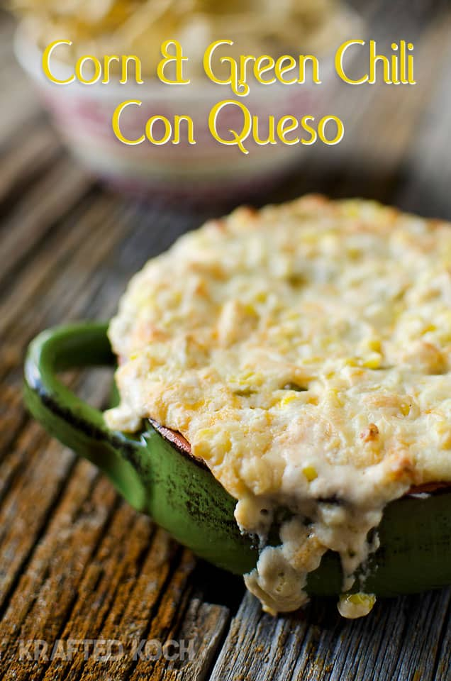 Corn Green Chilli Con Queso is an easy dip prepared in your Crock Pot that is sure to be a crowd-pleaser with crunchy sweet corn, flavorful green chilies and melted cheddar and queso fresco!