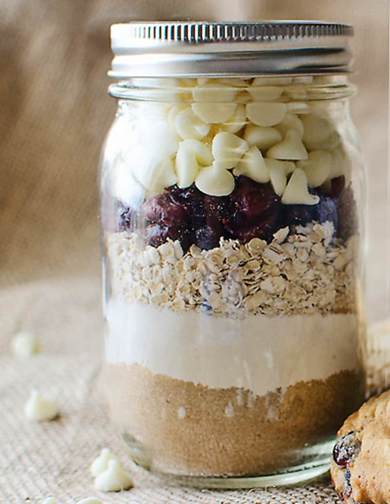 Cranberry White Chocolate Cookies In A Pint Jar