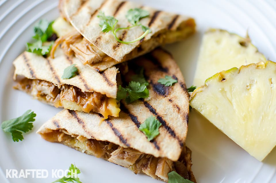 Crock pot BBQ Chicken & Pineapple Quesadillas - Easy & Healthy ...