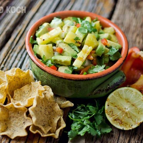 Grilled pineapple & avacado salsa - Krafted Koch