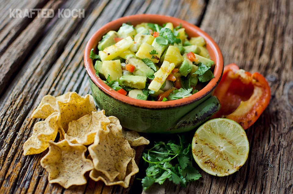 Grilled pineapple & avacado salsa - Krafted Koch