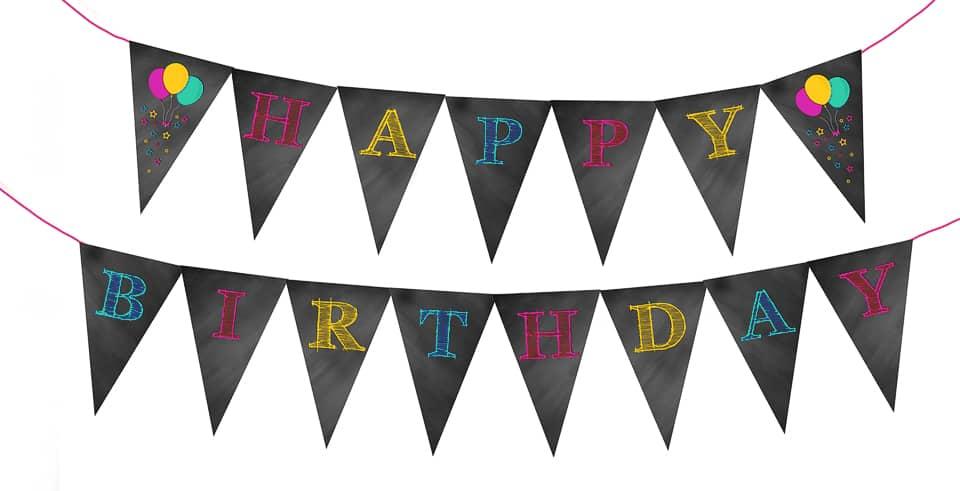 Happy Birthday Chalkboard Bunting Banner - Pink, Teal & Yellow www.kraftedkoch.com