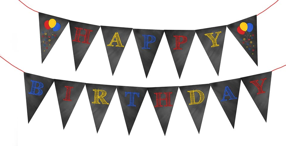 Happy Birthday Chalkboard Bunting Banner - Red, Blue & Yellow www.kraftedkoch.com