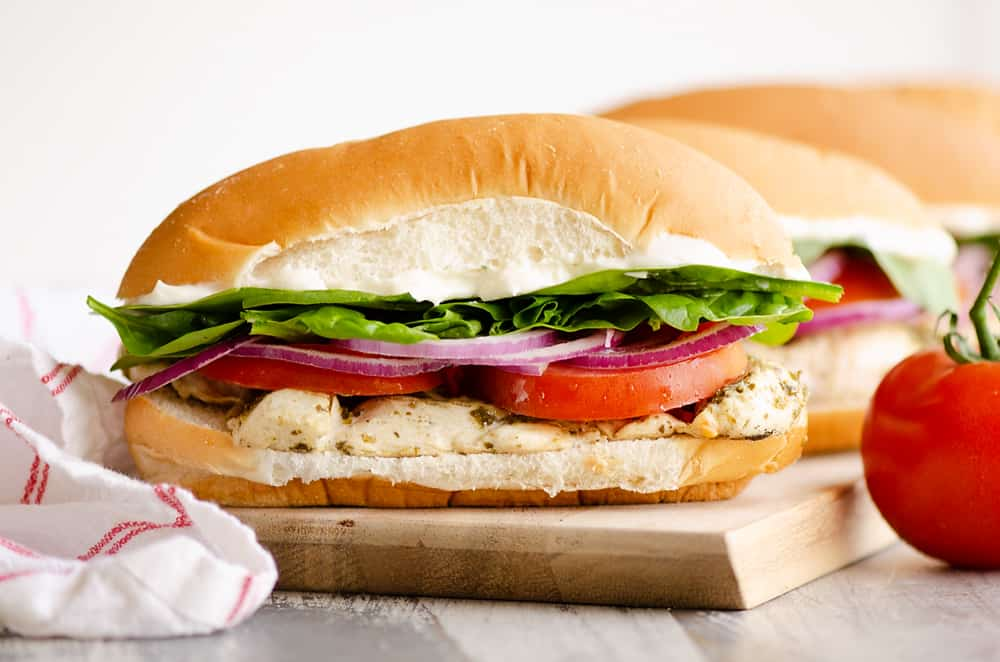 Pesto Chicken Sub Sandwich on cutting board