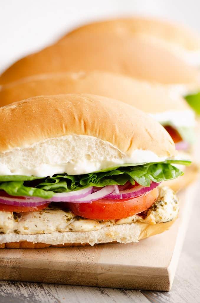 Pesto Chicken Sub Sandwiches served