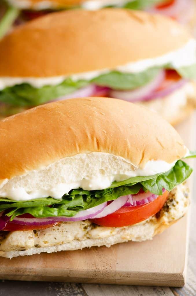 Pesto Chicken Sub Sandwiches on platter