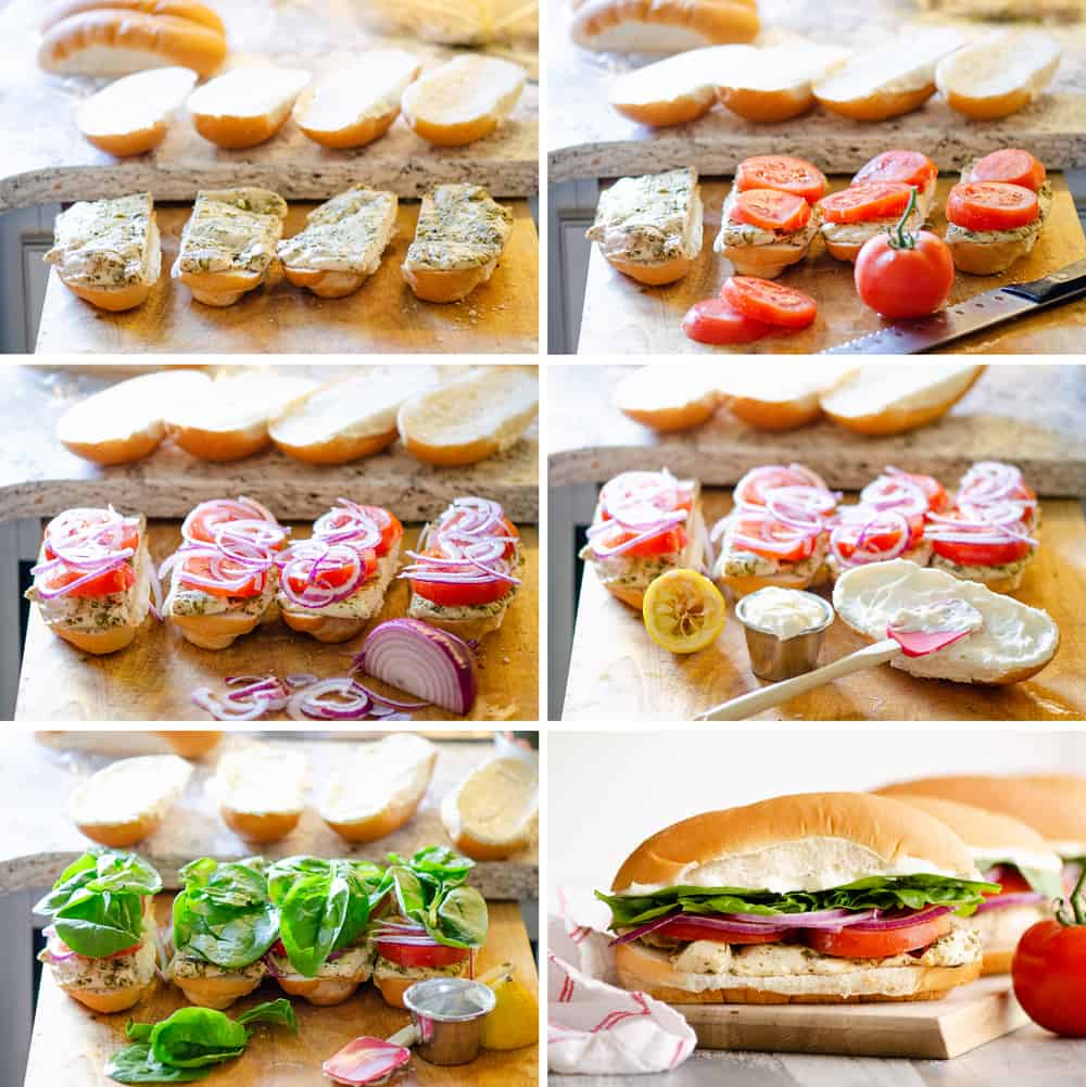 Pesto Chicken Sub Sandwich assembly step by step