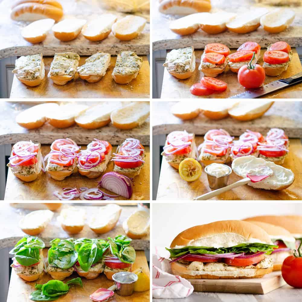 Pesto Chicken Sub Sandwich assembly step by step