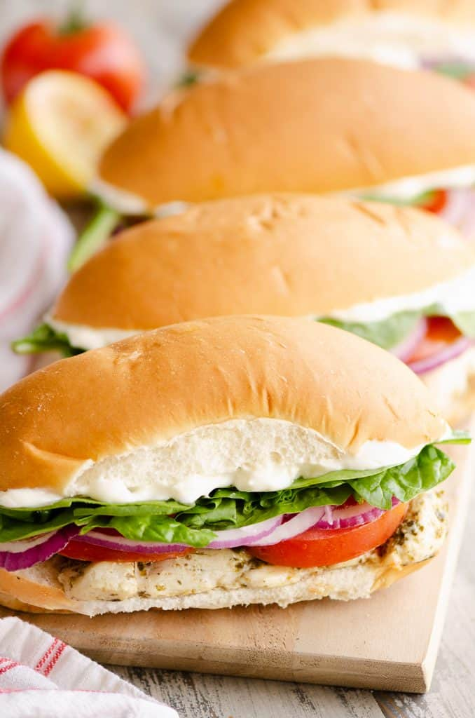 Pesto Chicken Sub Sandwiches on serving platter