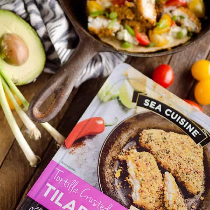 Tortilla Crusted Fish Tacos with Avocado Crema