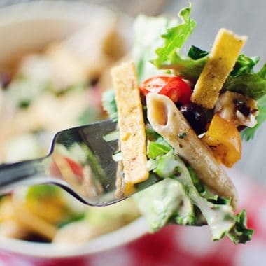 Southwest Penne & Romaine Salad bite on fork