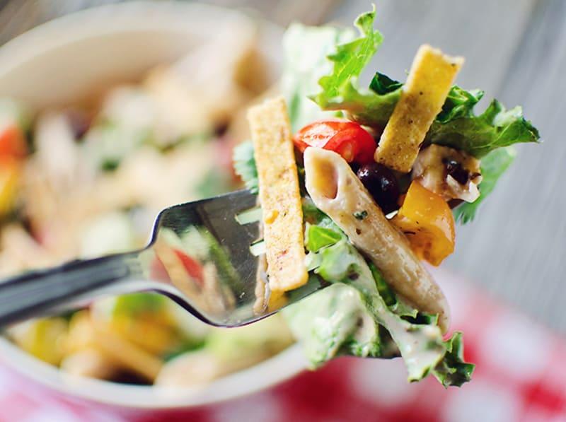 Southwest Penne & Romaine Salad bite on fork