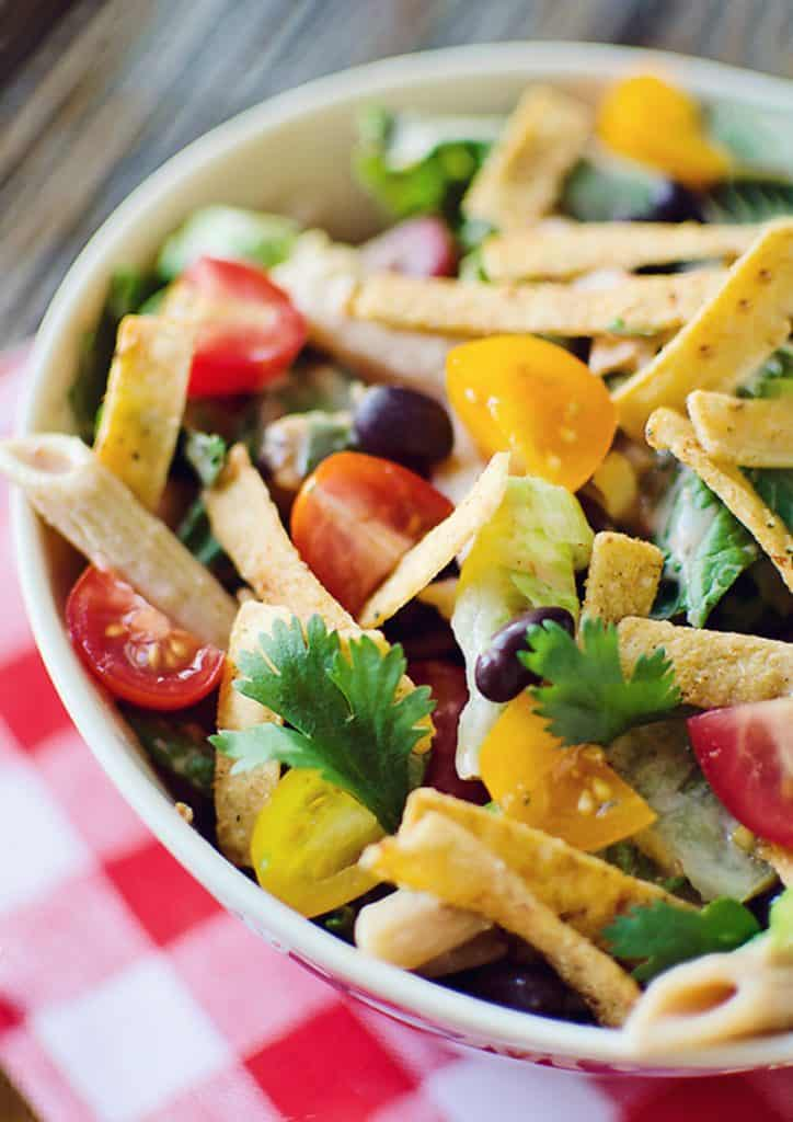 Southwest Penne & Romaine Salad with checkered napkin