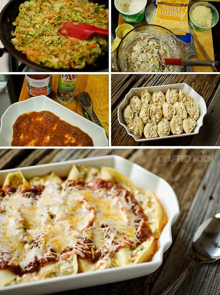 Veggie & Three Cheese Stuffed Shells - Krafted Koch