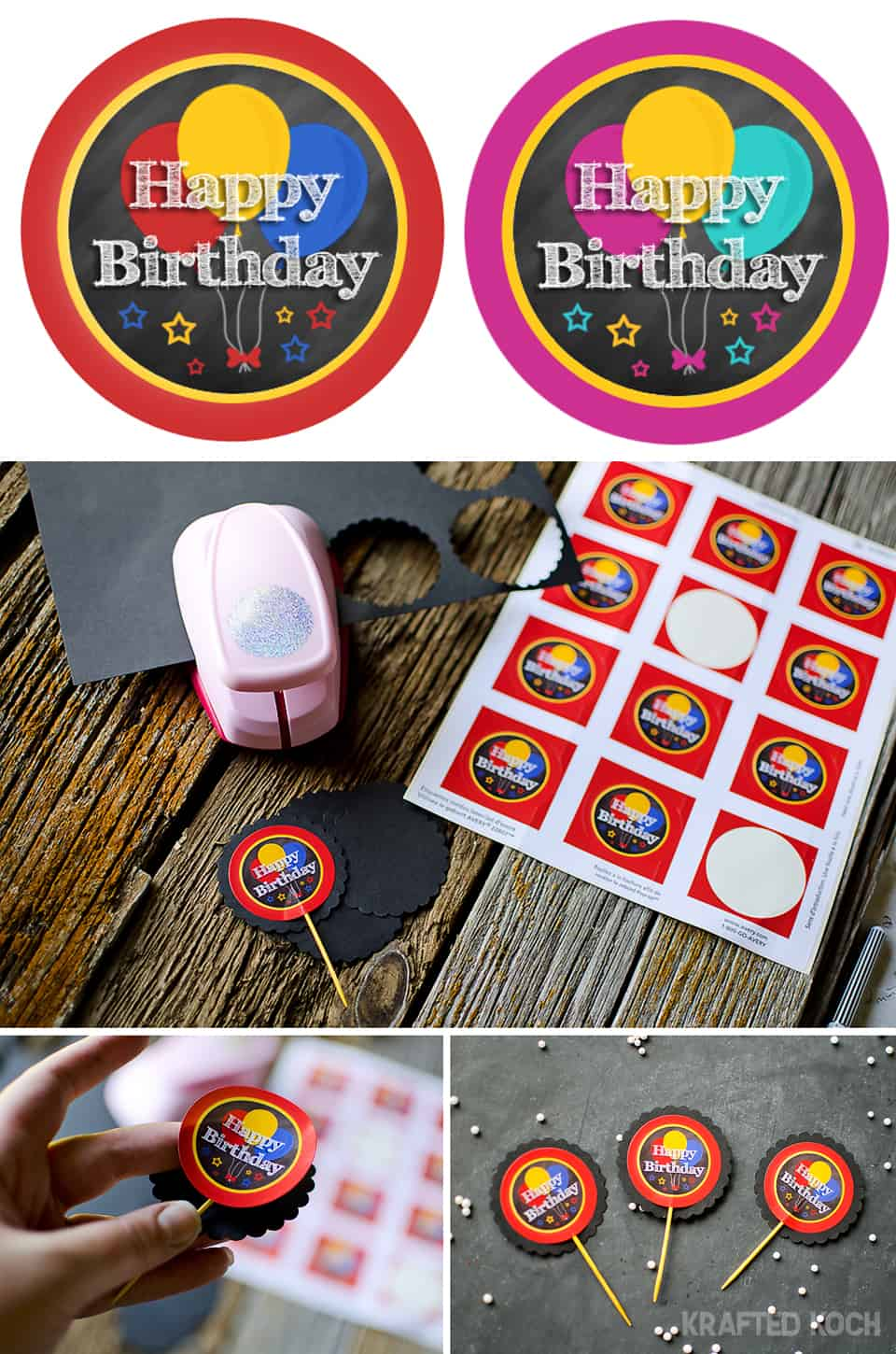 cupcake toppers - chalkboard birthday party boy girl free printable