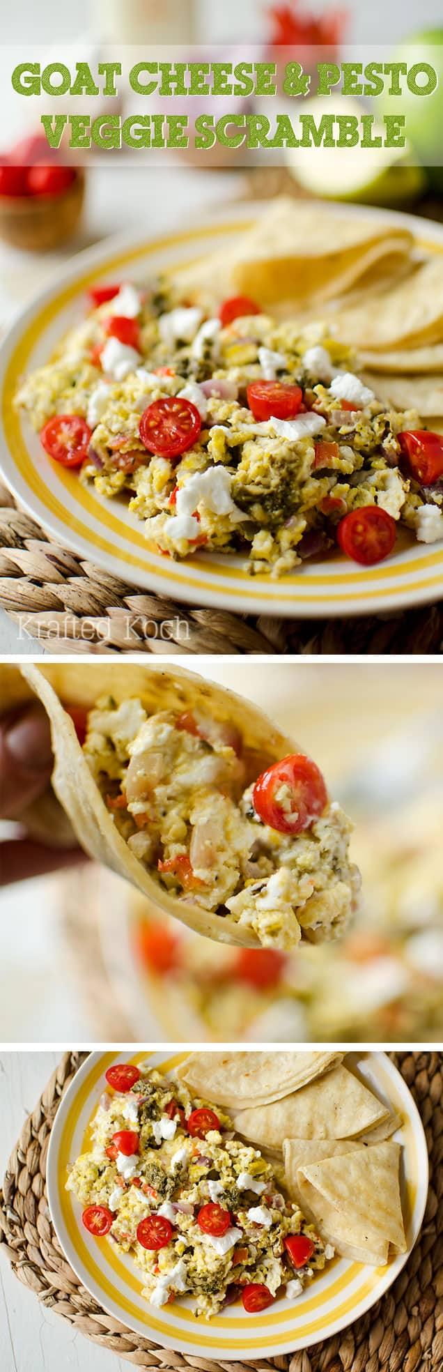 Goat Cheese & Pesto Veggie Scramble - Krafted Koch