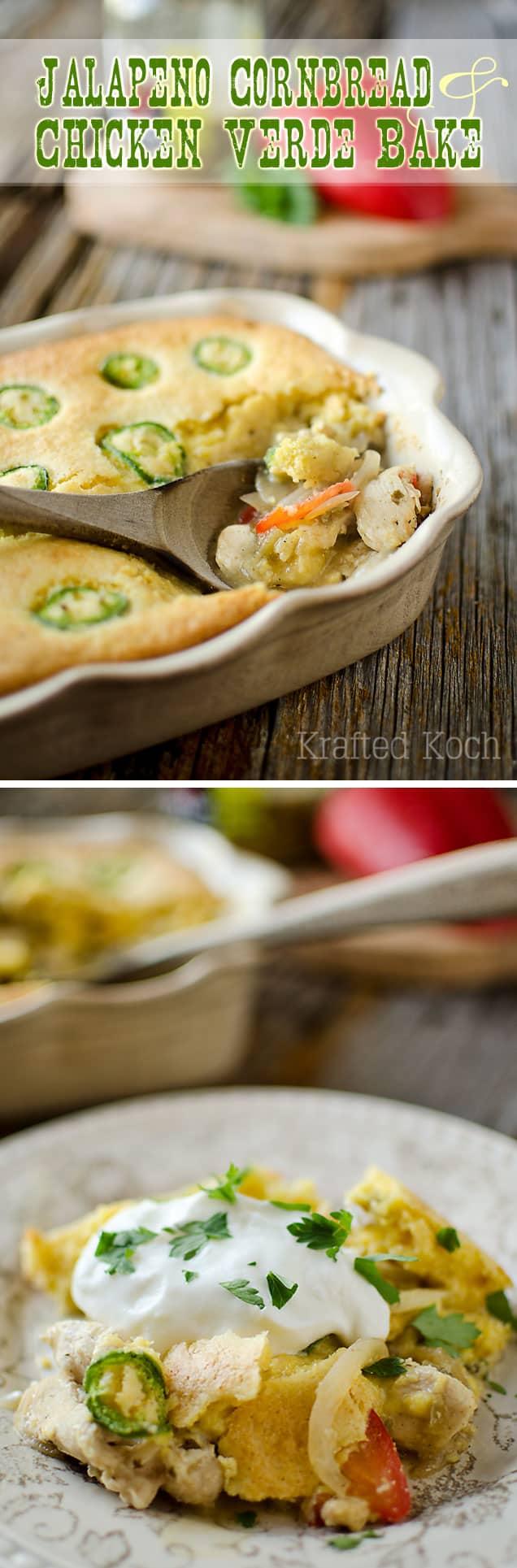 Jalapeno Cornbread & Chicken Verde Bake - Krafted Koch