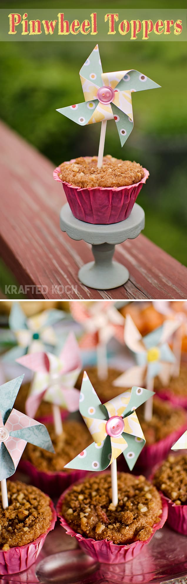 Pinwheel Cupcake or Muffin Toppers, Party Decor - Krafted Koch