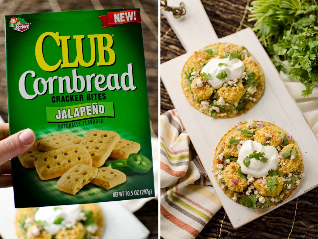 Jalapeno Cornbread Crusted Shrimp Tostadas - Krafted Koch - Keebler Club Cornbread Crackers