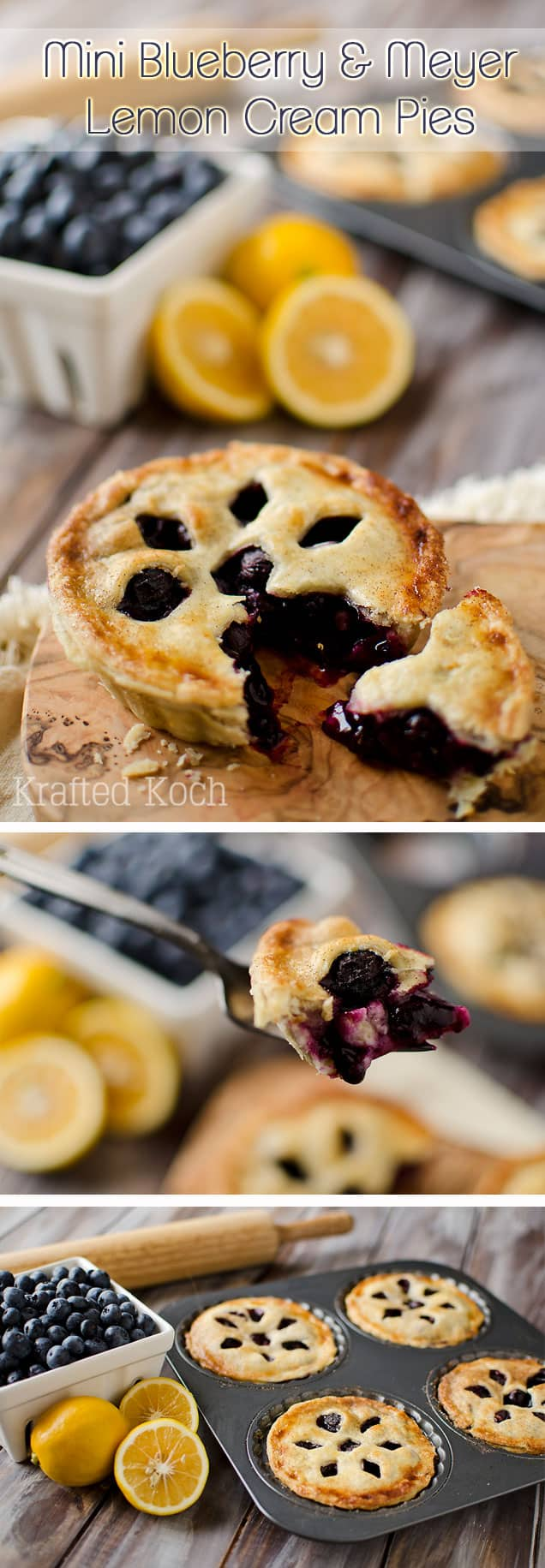 Mini Blueberry & Meyer Lemon Cream Pies - Krafted Koch - The perfect ...