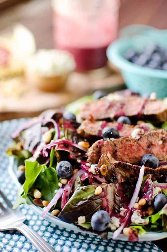 Steak & Bleu Cheese Salad with Blueberry Balsamic Dressing