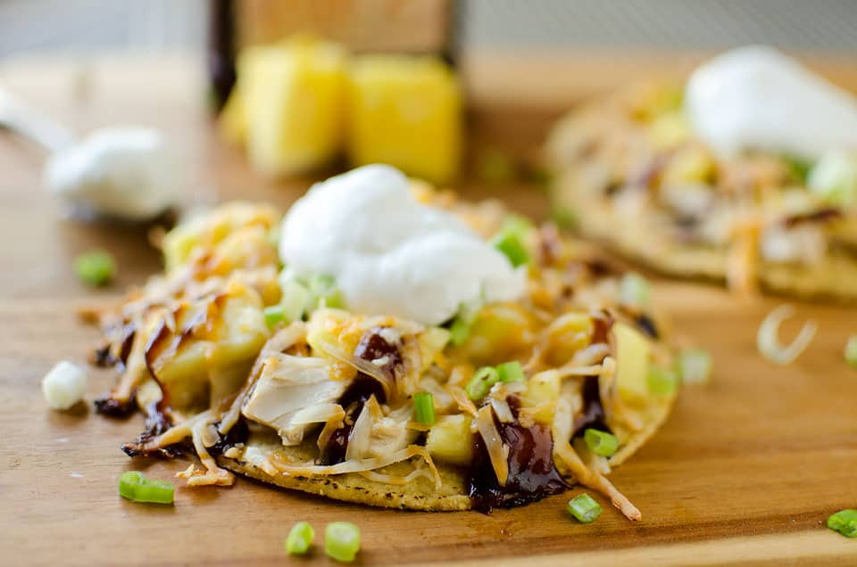 Light BBQ Chicken, Cheddar & Pineapple Tostadas - Krafted Koch - A light and easy weeknight dinner recipe the whole family will love!