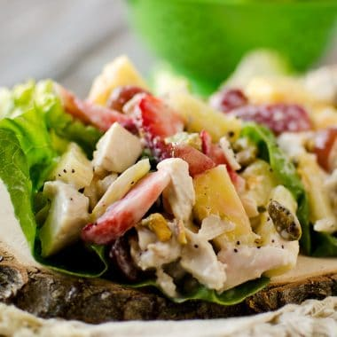 Fruit & Chicken Salad Lettuce Cups with Creamy Poppy Seed Dressing