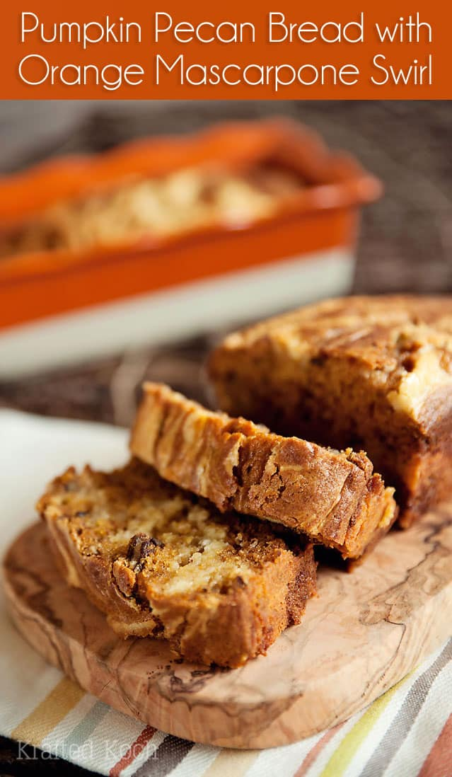 Pumpkin Pecan Bread with Orange Mascarpone Swirl - Krafted Koch