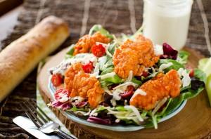 Crispy Buffalo Chicken Salad with Light Greek Yogurt Bleu Cheese Dressing - Krafted Koch