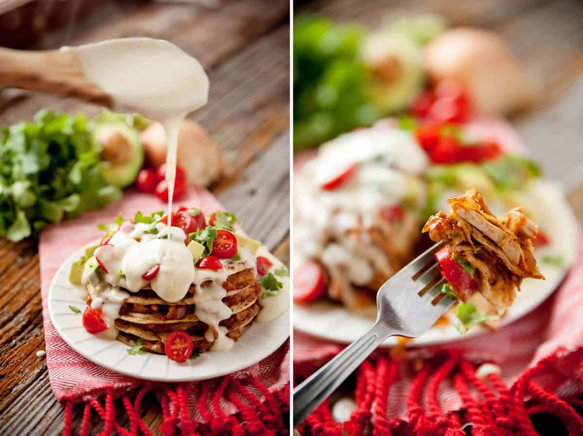 Cheesy Chicken Enchilada & Tortilla Stacks - Krafted Koch