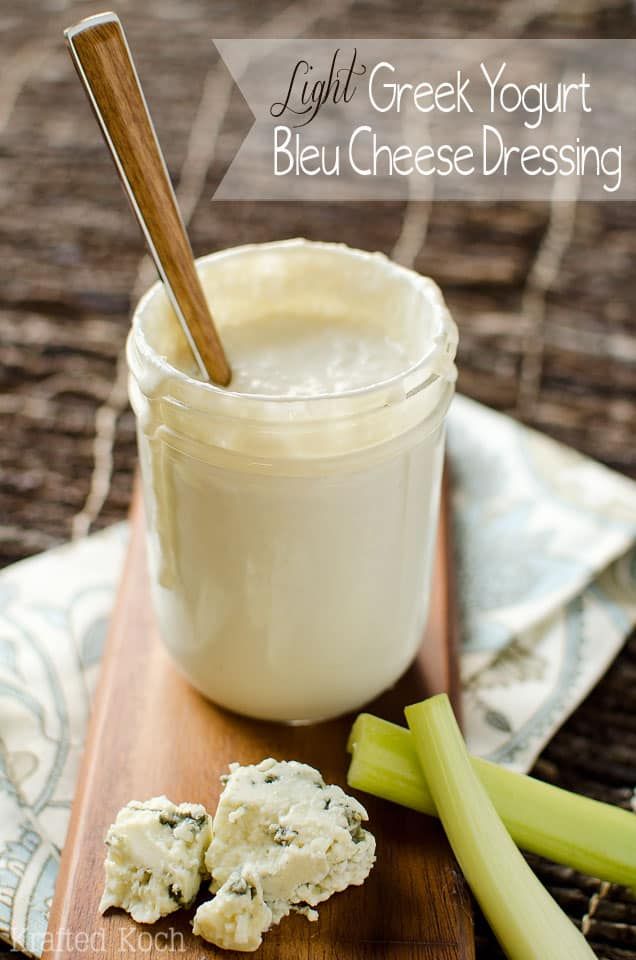 Light Greek Yogurt Bleu Cheese Dressing - Krafted Koch - A Tangy bleu cheese dressing recipe that is lightened up with Greek yogurt.