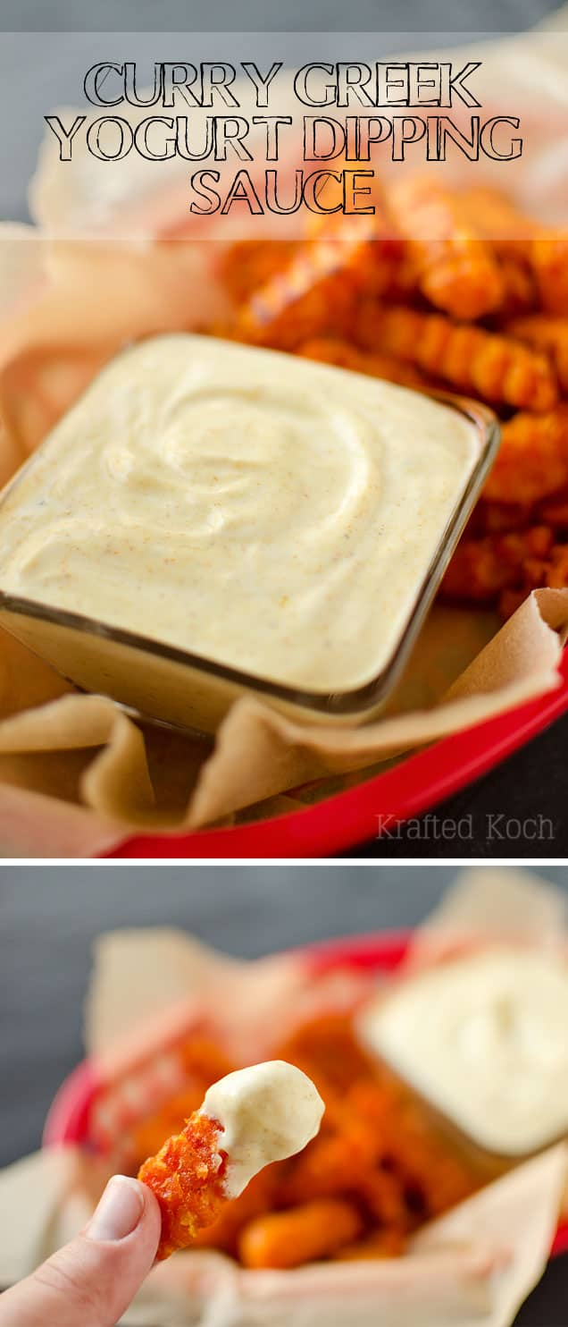 Curry Greek Yogurt Dipping Sauce - Krafted Koch - An amazingly flavorful dipping sauce recipe perfect for sweet potato fries!