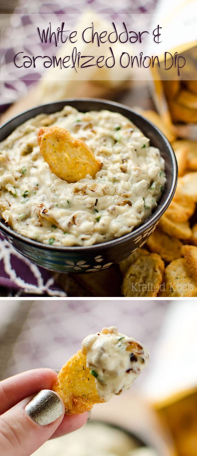 White Cheddar & Caramelized Onion Dip - Krafted Koch - A flavorful dip recipe loaded with caramelized onions, chives and extra sharp white cheddar for an appetizer everyone will love!