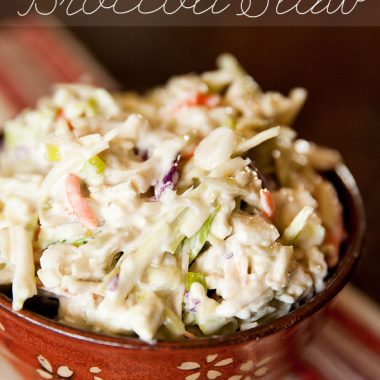 Bleu Cheese Broccoli Slaw - Krafted Koch - an easy and delicious side dish lightened up with more bold flavor and crunch than your traditional coleslaw!