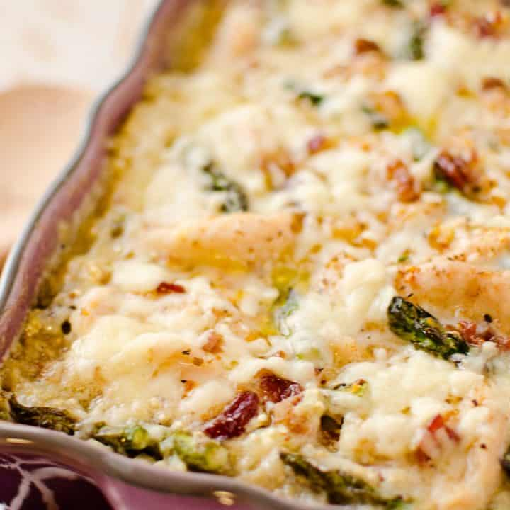 Chicken Asparagus Casserole in baking pan