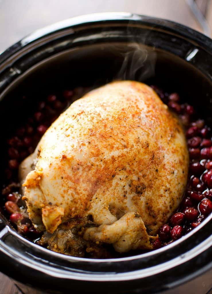 Crock Pot Turkey Breast with Cranberry Sauce in slow cooker