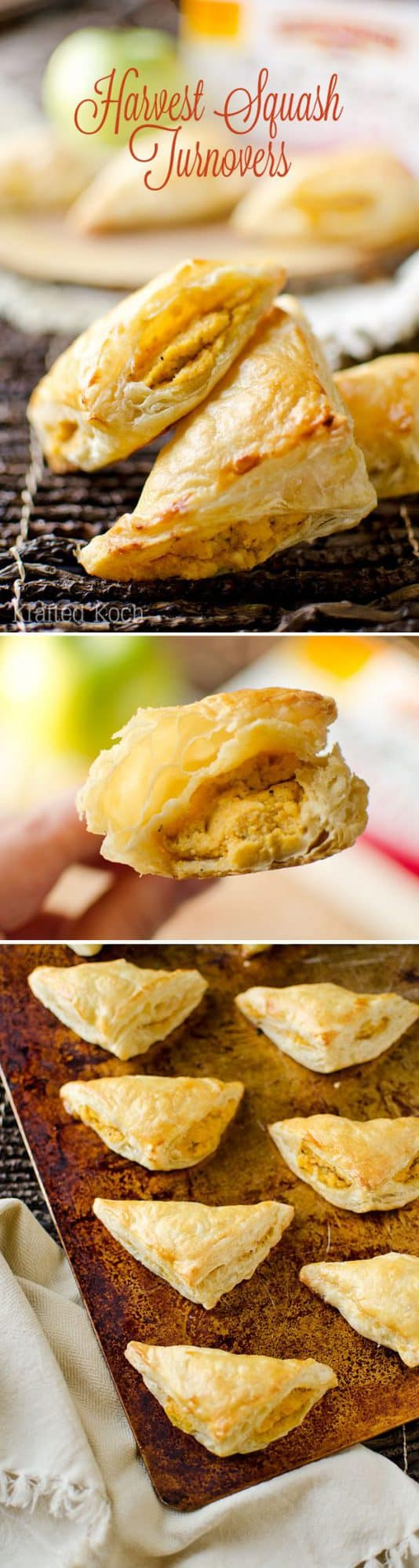 Harvest Squash Turnovers - Krafted Koch - A fall inspired appetizer recipe with creamy butternut squash and goat cheese paired with sweet apple, roasted garlic and sage and enveloped in a flaky puff pastry shell.