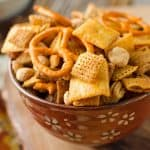 Cheddar Sriracha Snack Mix - Krafted Koch - An easy snack mix recipe loaded with spice and flavor! #snackmix #spicy #cheddar