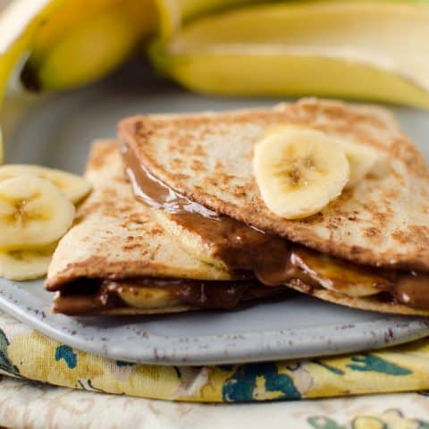 Healthy Chocolate & Banana Quesadilla Recipe - Krafted Koch - A quick and simple, 3-ingredient dessert or snack recipe that will fill you up and is still healthy!