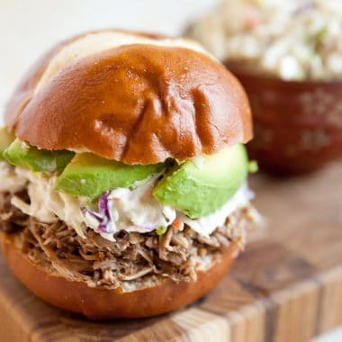 Pulled Pork & Bleu Cheese Slaw Sandwich - Krafted Koch - A delicious and simple sandwich recipe with pulled pork made in your Crock Pot for an easy weeknight dinner idea!