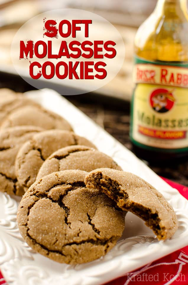 Soft Molasses Cookies - Krafted Koch - A traditional molasses cookie recipe with a chewy soft center and crunchy, sugar-coated outside for the perfect holiday sweet!