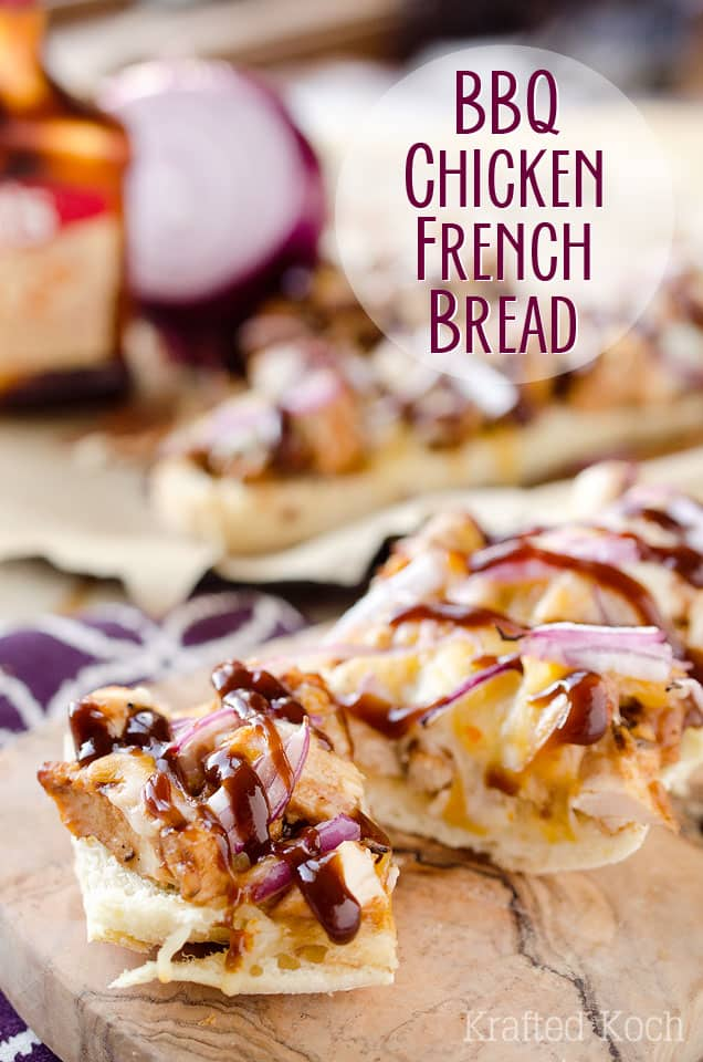 BBQ Chicken French Bread is a chewy french bread topped with BBQ chicken, red onions and melted cheddar for an amazingly simple and delicious appetizer recipe or dinner idea. #Appetizer #FrenchBread #BBQ